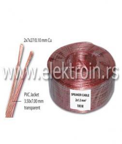 Zvučnički kabl 2x1.50 mm2 transparentni Cu